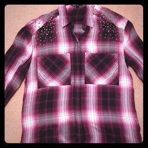 Express Plaid shirt with shoulder embellishments